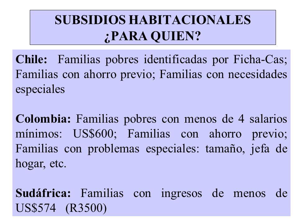 SUBSIDIOS HABITACIONALES ¿PARA QUIEN? Chile: Familias pobres identificadas por Ficha-Cas; Familias con ahorro previo; Familias con necesidades especia