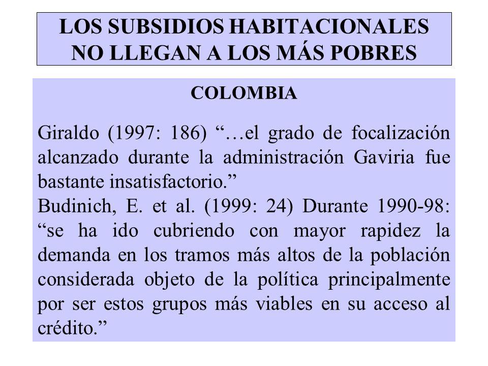 LOS SUBSIDIOS HABITACIONALES NO LLEGAN A LOS MÁS POBRES COLOMBIA Giraldo (1997: 186) …el grado de focalización alcanzado durante la administración Gav