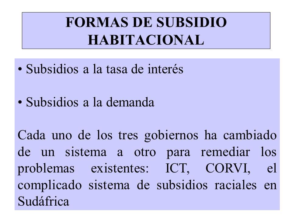 FORMAS DE SUBSIDIO HABITACIONAL Subsidios a la tasa de interés Subsidios a la demanda Cada uno de los tres gobiernos ha cambiado de un sistema a otro