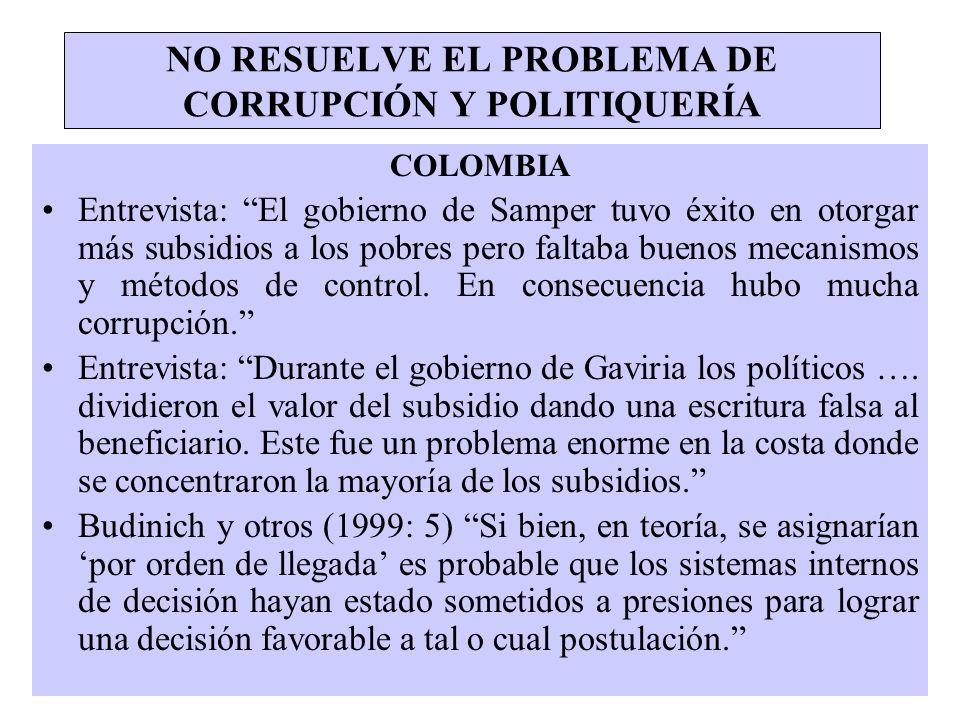 NO RESUELVE EL PROBLEMA DE CORRUPCIÓN Y POLITIQUERÍA COLOMBIA Entrevista: El gobierno de Samper tuvo éxito en otorgar más subsidios a los pobres pero