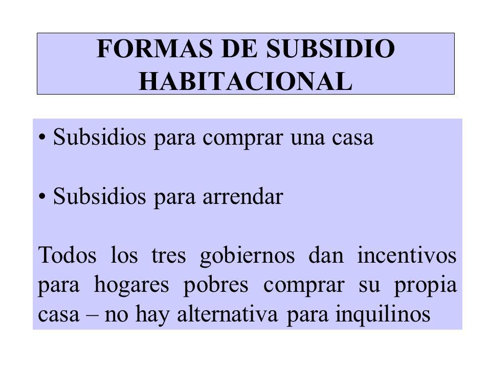 FORMAS DE SUBSIDIO HABITACIONAL Subsidios para comprar una casa Subsidios para arrendar Todos los tres gobiernos dan incentivos para hogares pobres co