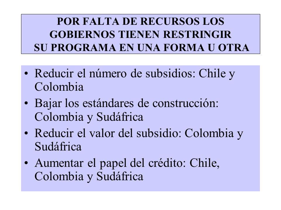 POR FALTA DE RECURSOS LOS GOBIERNOS TIENEN RESTRINGIR SU PROGRAMA EN UNA FORMA U OTRA Reducir el número de subsidios: Chile y Colombia Bajar los están