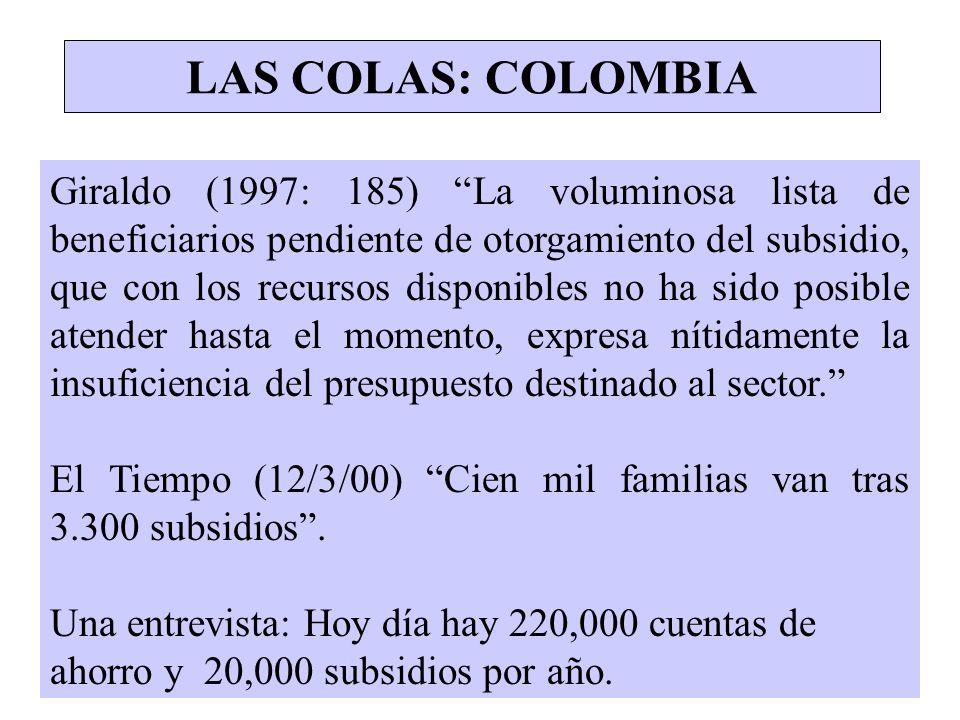 LAS COLAS: COLOMBIA Giraldo (1997: 185) La voluminosa lista de beneficiarios pendiente de otorgamiento del subsidio, que con los recursos disponibles