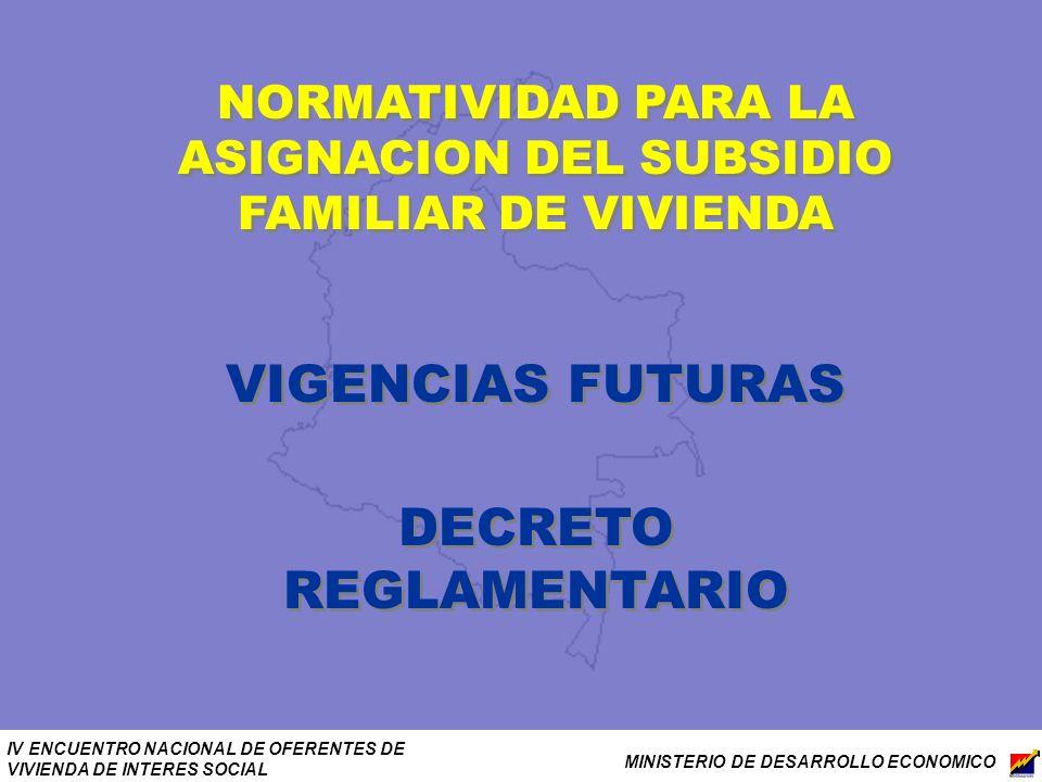 IV ENCUENTRO NACIONAL DE OFERENTES DE VIVIENDA DE INTERES SOCIAL MINISTERIO DE DESARROLLO ECONOMICO NORMATIVIDAD PARA LA ASIGNACION DEL SUBSIDIO FAMIL