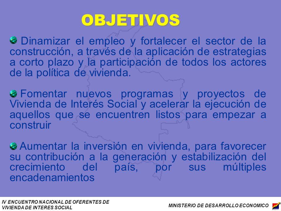 IV ENCUENTRO NACIONAL DE OFERENTES DE VIVIENDA DE INTERES SOCIAL MINISTERIO DE DESARROLLO ECONOMICO OBJETIVOS Dinamizar el empleo y fortalecer el sect