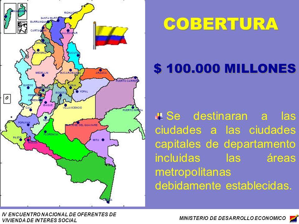 IV ENCUENTRO NACIONAL DE OFERENTES DE VIVIENDA DE INTERES SOCIAL MINISTERIO DE DESARROLLO ECONOMICO COBERTURA $ 100.000 MILLONES Se destinaran a las c