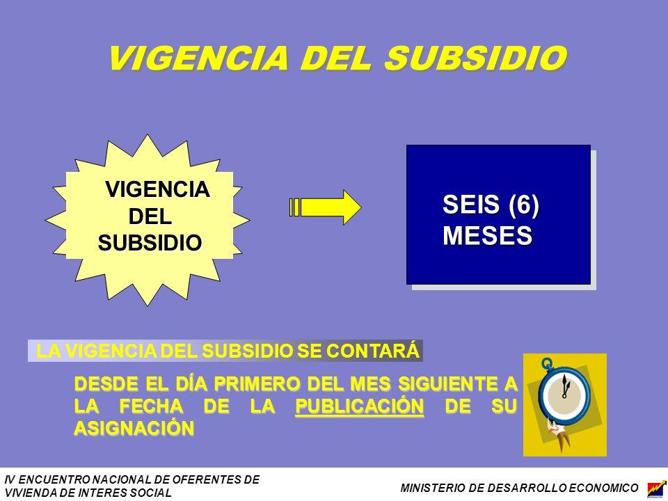 IV ENCUENTRO NACIONAL DE OFERENTES DE VIVIENDA DE INTERES SOCIAL MINISTERIO DE DESARROLLO ECONOMICO VIGENCIA DEL SUBSIDIO VIGENCIA DEL SUBSIDIO SEIS (