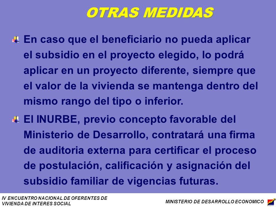 IV ENCUENTRO NACIONAL DE OFERENTES DE VIVIENDA DE INTERES SOCIAL MINISTERIO DE DESARROLLO ECONOMICO OTRAS MEDIDAS En caso que el beneficiario no pueda