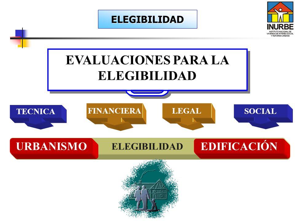 FINANCIERA TECNICA ELEGIBILIDAD EVALUACIONES PARA LA ELEGIBILIDAD URBANISMO EDIFICACIÓN SOCIAL LEGAL