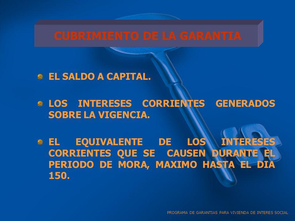 CUBRIMIENTO DE LA GARANTIA EL SALDO A CAPITAL.