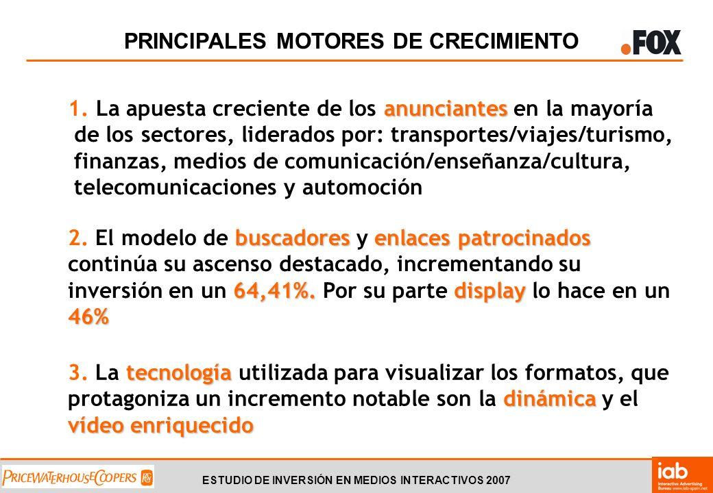 ESTUDIO DE INVERSIÓN EN MEDIOS INTERACTIVOS 2007 PRINCIPALES MOTORES DE CRECIMIENTO anunciantes 1.
