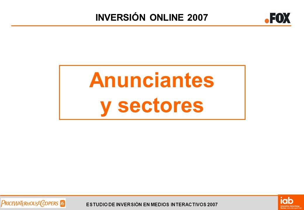 ESTUDIO DE INVERSIÓN EN MEDIOS INTERACTIVOS 2007 INVERSIÓN ONLINE 2007 Anunciantes y sectores