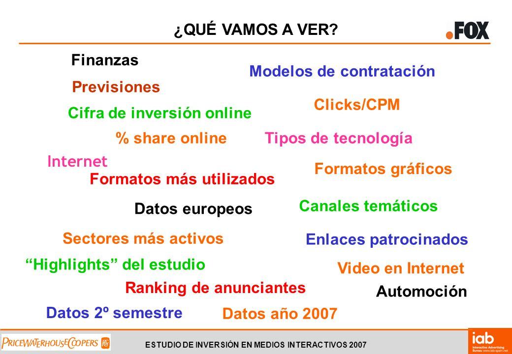 ESTUDIO DE INVERSIÓN EN MEDIOS INTERACTIVOS 2007 HIGHLIGHTS DEL ESTUDIO 171,97 millones de 1.
