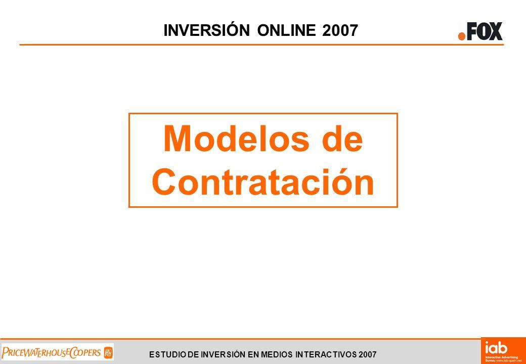 ESTUDIO DE INVERSIÓN EN MEDIOS INTERACTIVOS 2007 INVERSIÓN ONLINE 2007 Modelos de Contratación