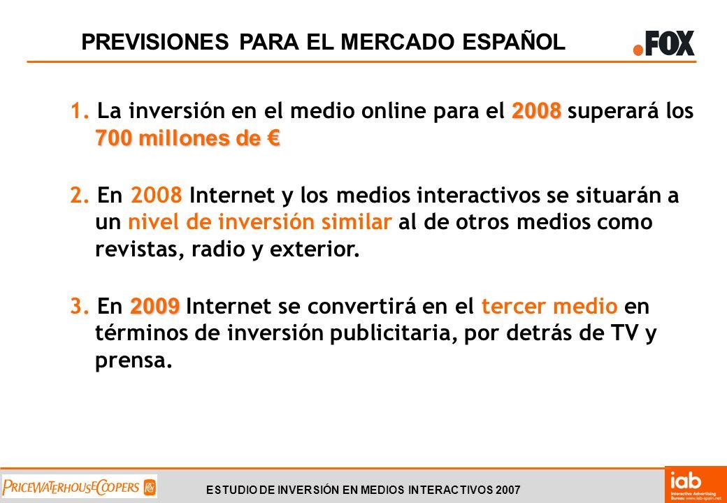 ESTUDIO DE INVERSIÓN EN MEDIOS INTERACTIVOS 2007 PREVISIONES PARA EL MERCADO ESPAÑOL 2008 700 millones de 1.