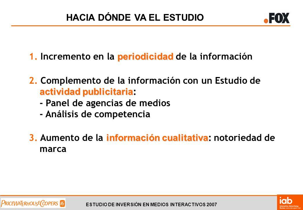 ESTUDIO DE INVERSIÓN EN MEDIOS INTERACTIVOS 2007 HACIA DÓNDE VA EL ESTUDIO periodicidad 1.