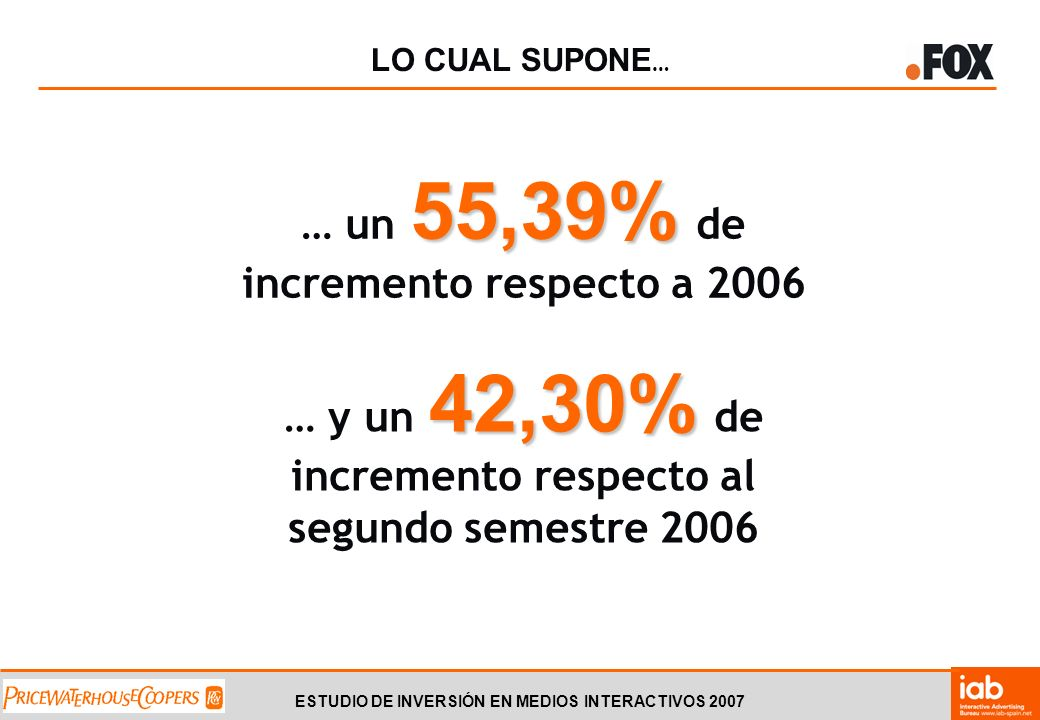 ESTUDIO DE INVERSIÓN EN MEDIOS INTERACTIVOS 2007 ENLACES PATROCINADOS Y BUSCADORES 237,77 MM Inversión 2007: 237,77 MM 64,41% Lo cual supone un 64,41% de incremento interanual respecto a 2006