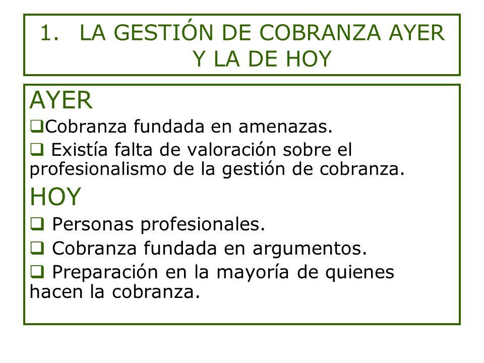 1.LA GESTIÓN DE COBRANZA AYER Y LA DE HOY AYER Cobranza fundada en amenazas.