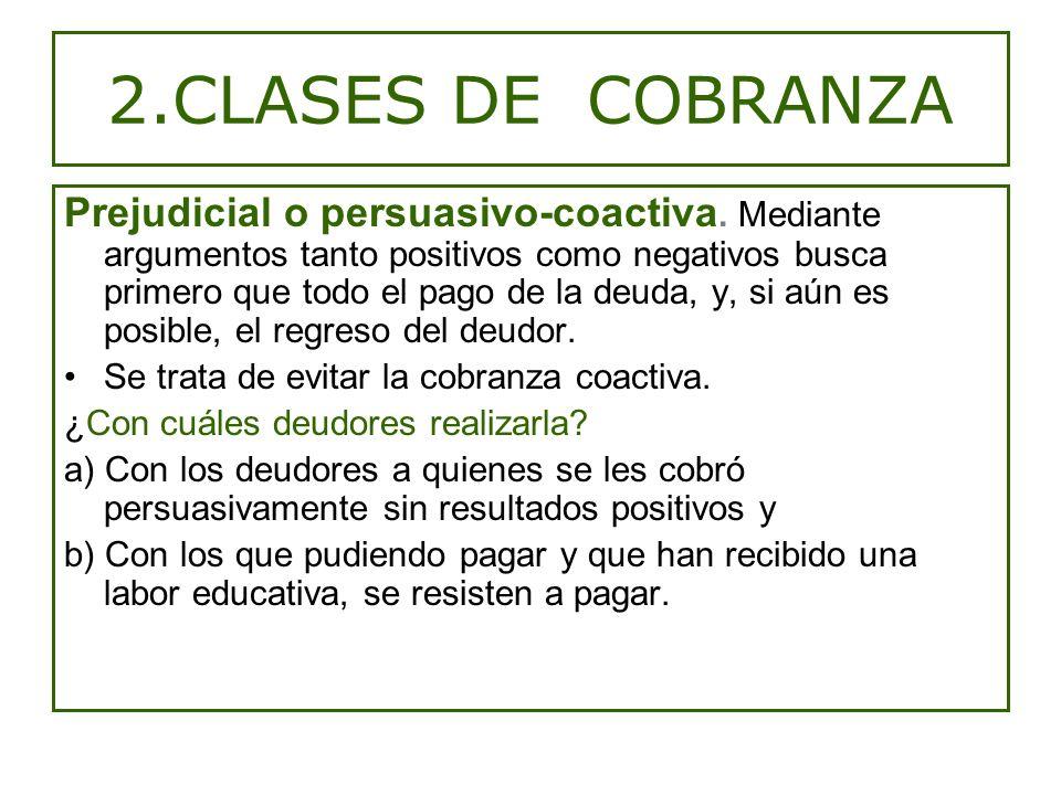 2.CLASES DE COBRANZA Prejudicial o persuasivo-coactiva.