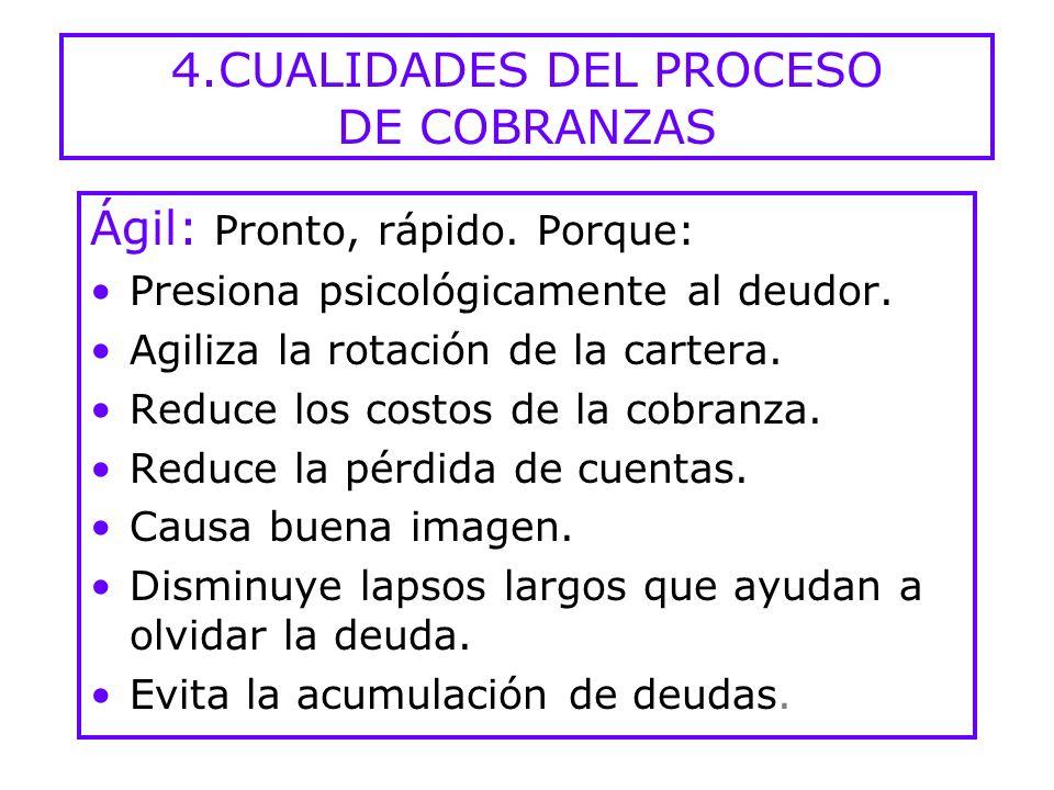 4.CUALIDADES DEL PROCESO DE COBRANZAS Ágil: Pronto, rápido.
