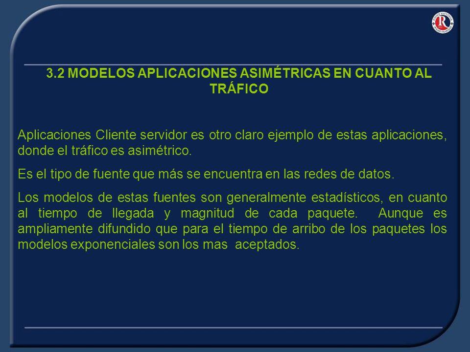 3.2 MODELOS APLICACIONES ASIMÉTRICAS EN CUANTO AL TRÁFICO Aplicaciones Cliente servidor es otro claro ejemplo de estas aplicaciones, donde el tráfico es asimétrico.