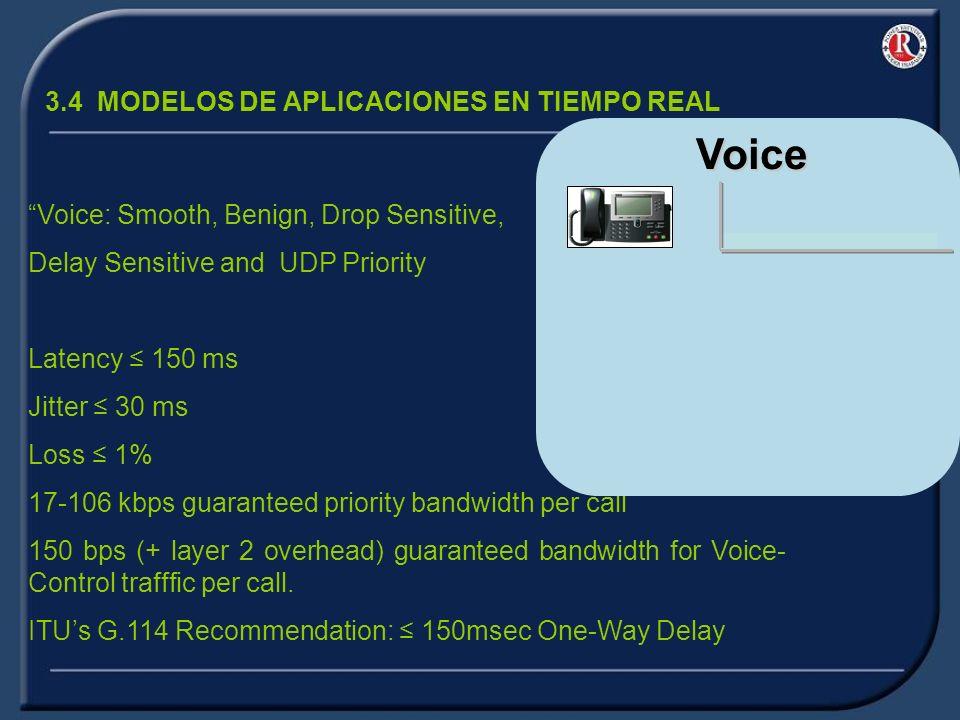 3.4 MODELOS DE APLICACIONES EN TIEMPO REAL Voice: Smooth, Benign, Drop Sensitive, Delay Sensitive and UDP Priority Latency 150 ms Jitter 30 ms Loss 1% 17-106 kbps guaranteed priority bandwidth per call 150 bps (+ layer 2 overhead) guaranteed bandwidth for Voice- Control trafffic per call.
