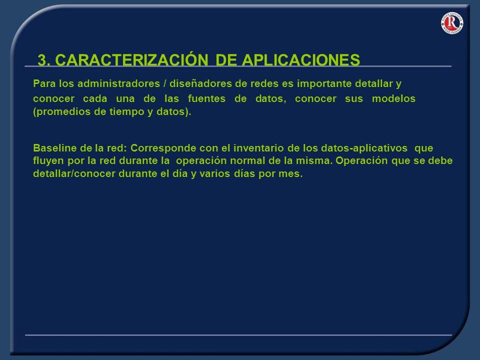 3. CARACTERIZACIÓN DE APLICACIONES Baseline de la red: Corresponde con el inventario de los datos-aplicativos que fluyen por la red durante la operaci