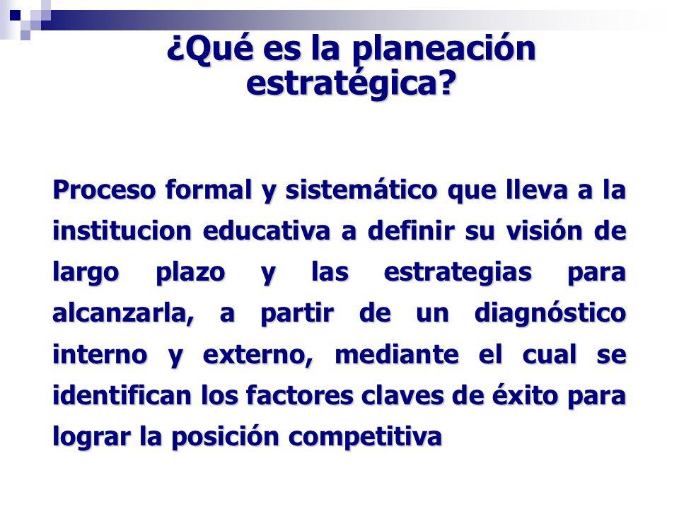 Proceso formal y sistemático que lleva a la institucion educativa a definir su visión de largo plazo y las estrategias para alcanzarla, a partir de un