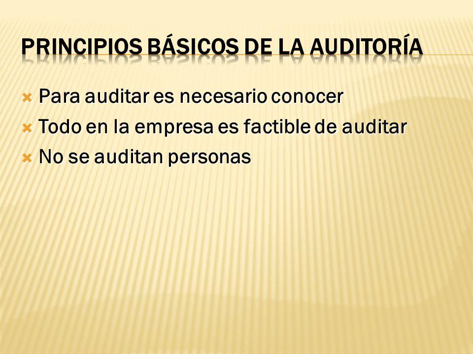 Para auditar es necesario conocer Para auditar es necesario conocer Todo en la empresa es factible de auditar Todo en la empresa es factible de auditar No se auditan personas No se auditan personas