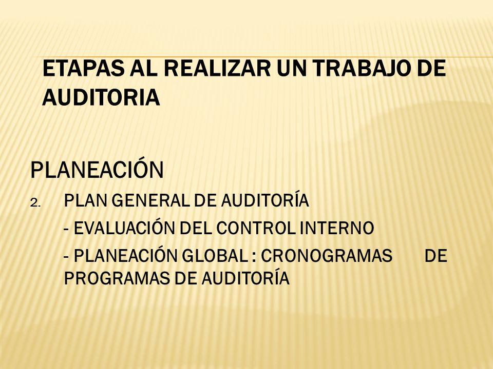 ETAPAS AL REALIZAR UN TRABAJO DE AUDITORIA PLANEACIÓN 2. PLAN GENERAL DE AUDITORÍA - EVALUACIÓN DEL CONTROL INTERNO - PLANEACIÓN GLOBAL : CRONOGRAMAS