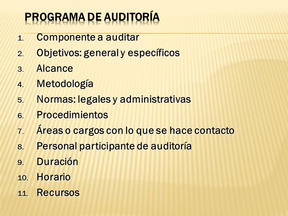 1. Componente a auditar 2. Objetivos: general y específicos 3. Alcance 4. Metodología 5. Normas: legales y administrativas 6. Procedimientos 7. Áreas