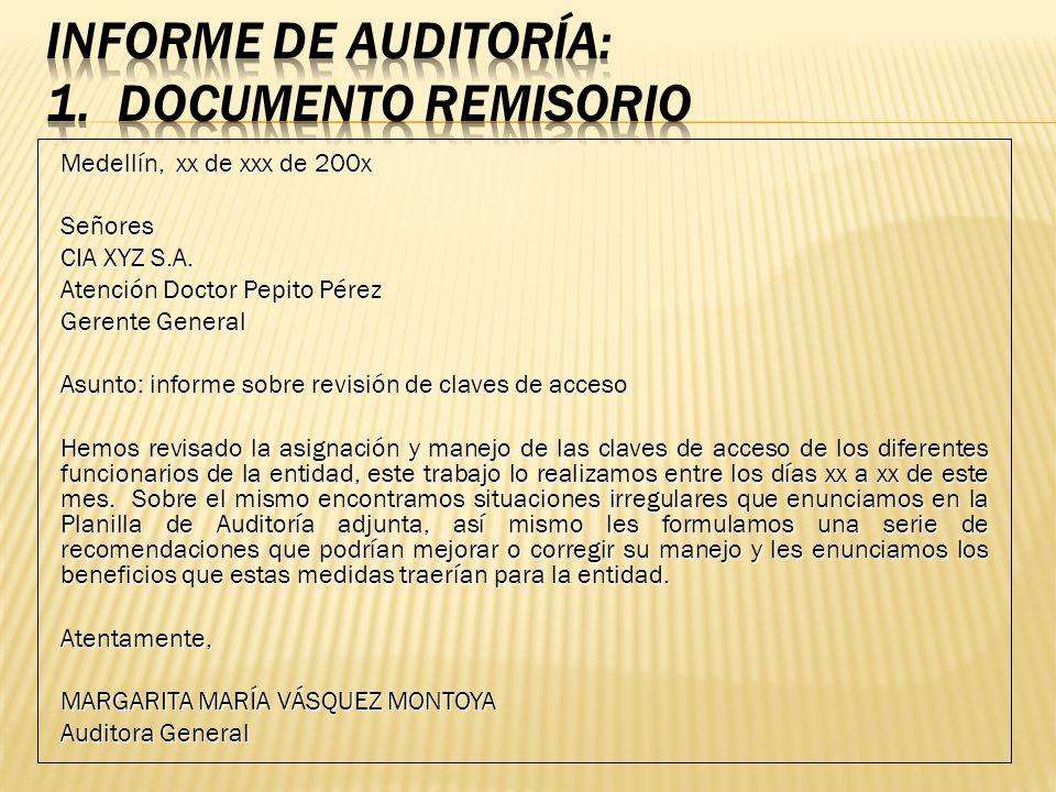 Medellín, xx de xxx de 200x Señores CIA XYZ S.A. Atención Doctor Pepito Pérez Gerente General Asunto: informe sobre revisión de claves de acceso Hemos