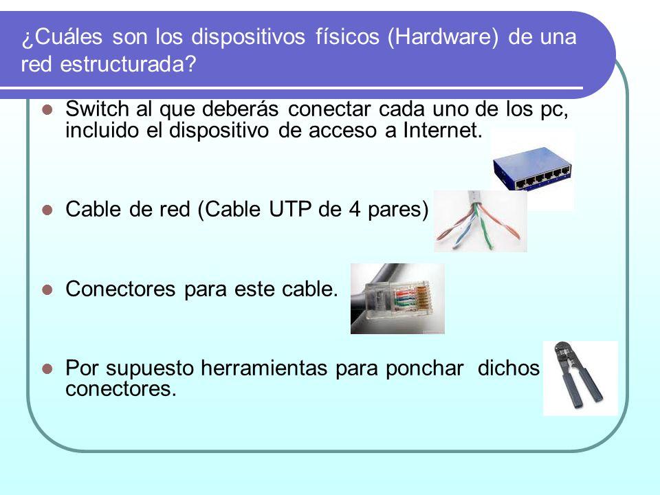¿Cuáles son los dispositivos físicos (Hardware) de una red estructurada? Switch al que deberás conectar cada uno de los pc, incluido el dispositivo de