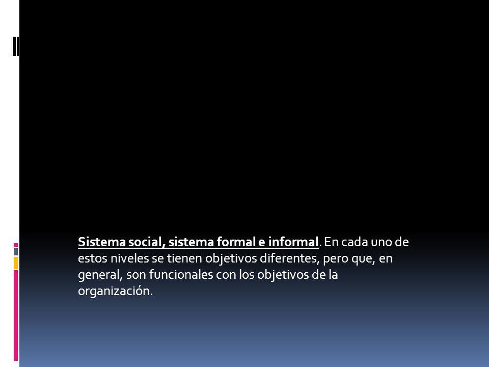 Sistema social, sistema formal e informal. En cada uno de estos niveles se tienen objetivos diferentes, pero que, en general, son funcionales con los