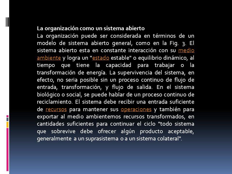 La organización como un sistema abierto La organización puede ser considerada en términos de un modelo de sistema abierto general, como en la Fig. 3.