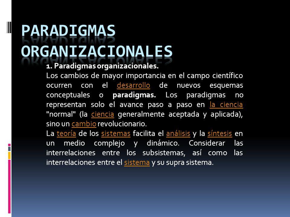 1. Paradigmas organizacionales. Los cambios de mayor importancia en el campo científico ocurren con el desarrollo de nuevos esquemas conceptuales o pa