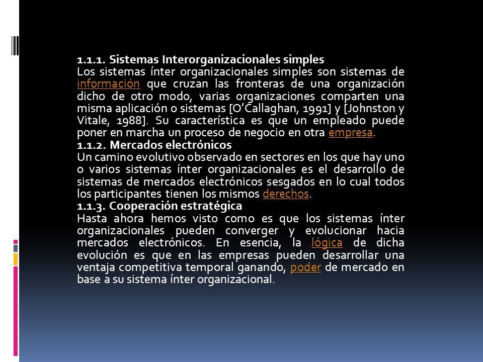 1.1.1. Sistemas Interorganizacionales simples Los sistemas ínter organizacionales simples son sistemas de información que cruzan las fronteras de una