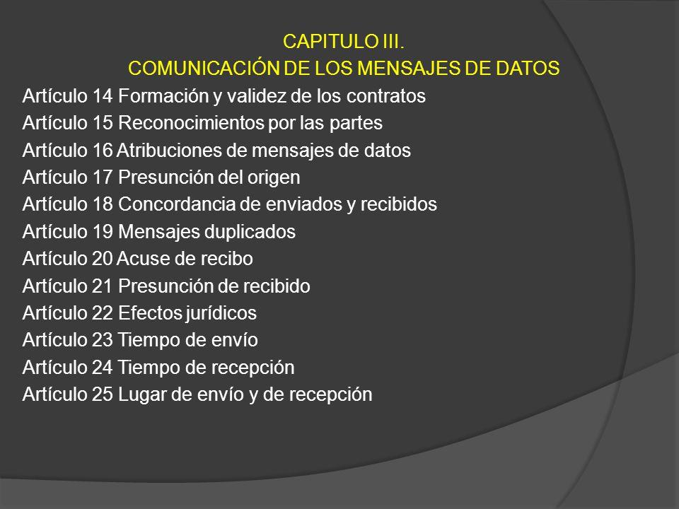 CAPITULO III. COMUNICACIÓN DE LOS MENSAJES DE DATOS Artículo 14 Formación y validez de los contratos Artículo 15 Reconocimientos por las partes Artícu