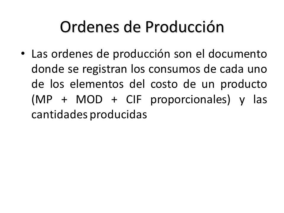 Ordenes de Producción Las ordenes de producción son el documento donde se registran los consumos de cada uno de los elementos del costo de un producto