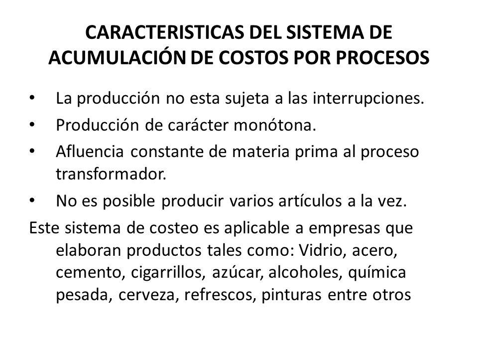 La producción no esta sujeta a las interrupciones. Producción de carácter monótona. Afluencia constante de materia prima al proceso transformador. No
