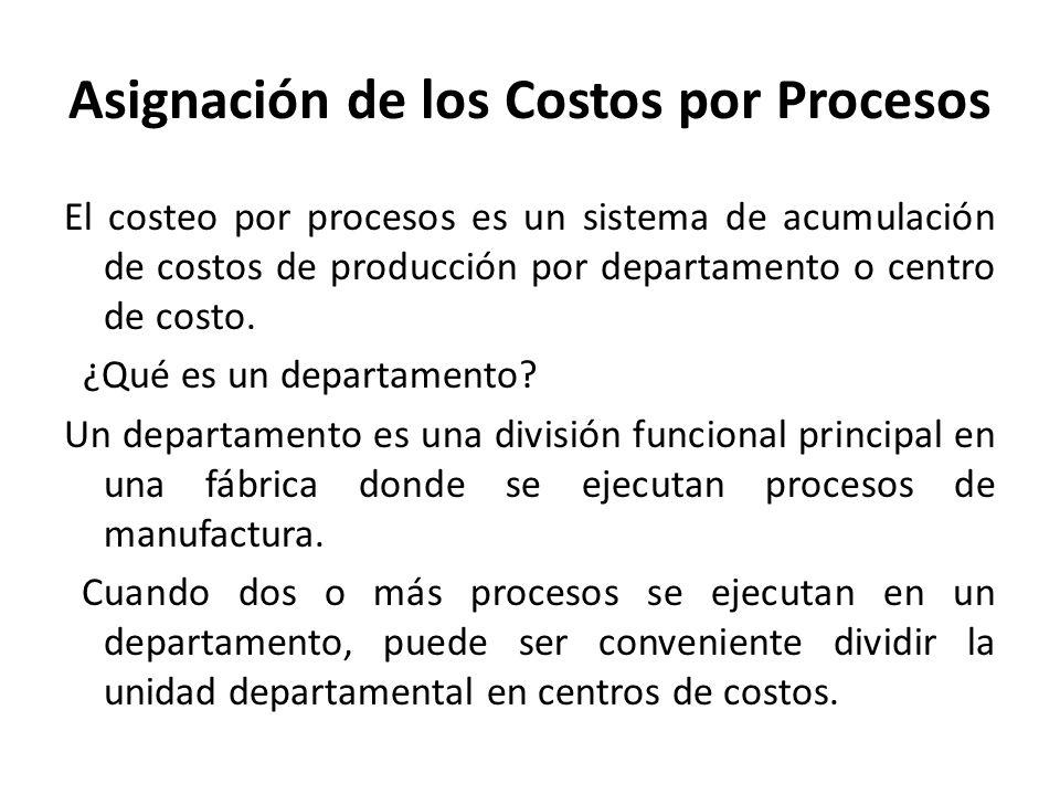 El costeo por procesos es un sistema de acumulación de costos de producción por departamento o centro de costo. ¿Qué es un departamento? Un departamen
