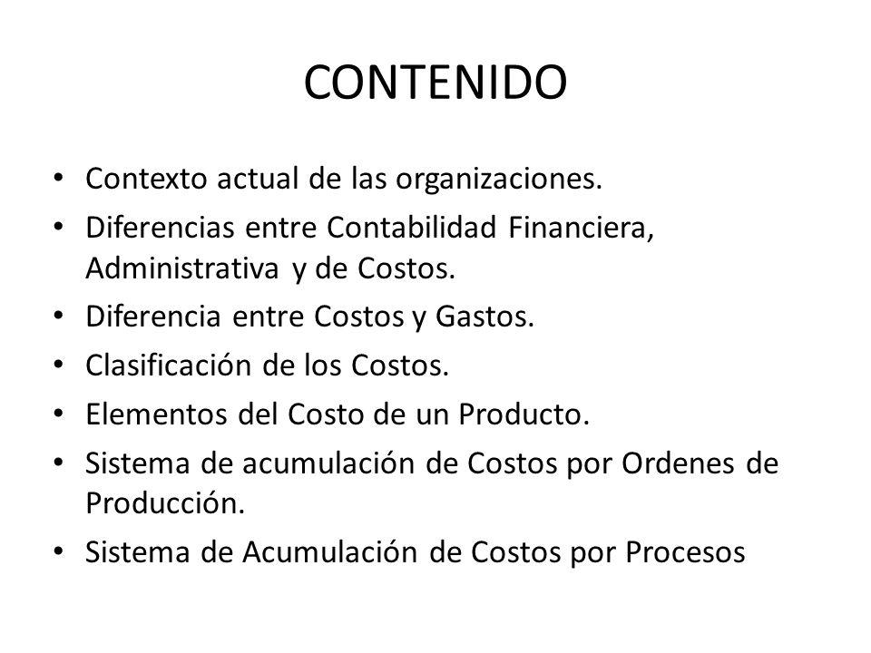 CONTENIDO Contexto actual de las organizaciones. Diferencias entre Contabilidad Financiera, Administrativa y de Costos. Diferencia entre Costos y Gast