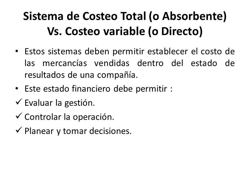 Estos sistemas deben permitir establecer el costo de las mercancías vendidas dentro del estado de resultados de una compañía. Este estado financiero d