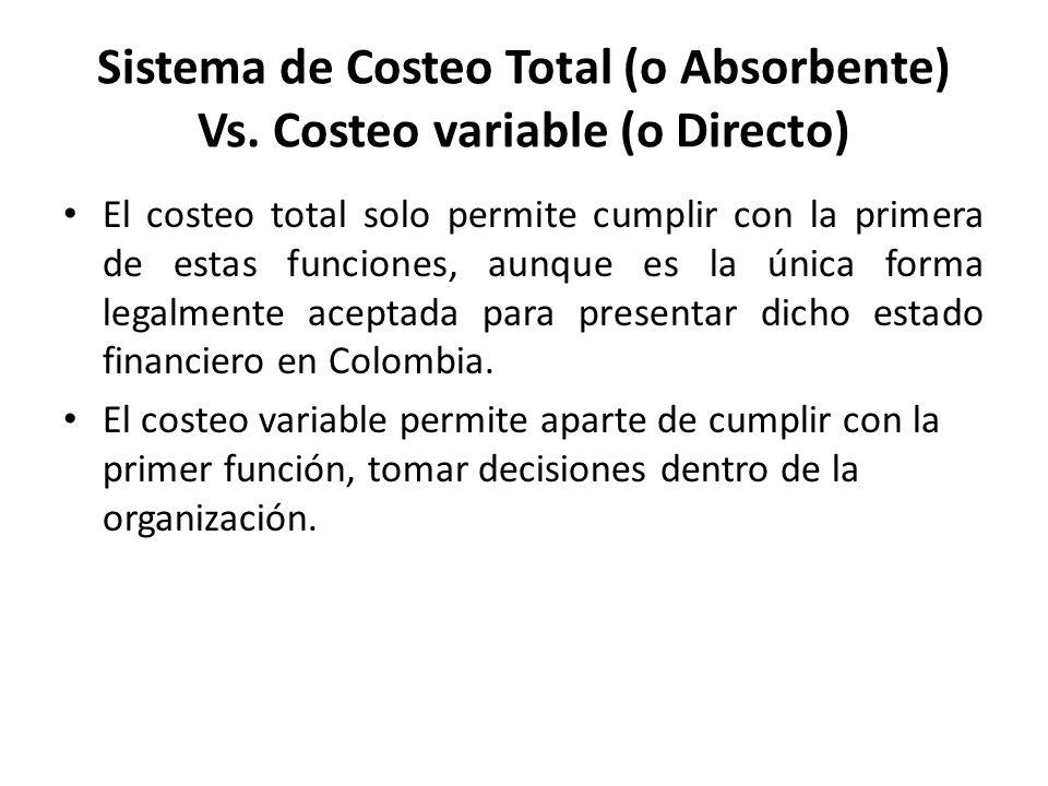 El costeo total solo permite cumplir con la primera de estas funciones, aunque es la única forma legalmente aceptada para presentar dicho estado finan