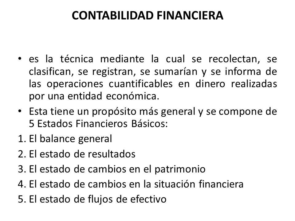 CONTABILIDAD FINANCIERA es la técnica mediante la cual se recolectan, se clasifican, se registran, se sumarían y se informa de las operaciones cuantif