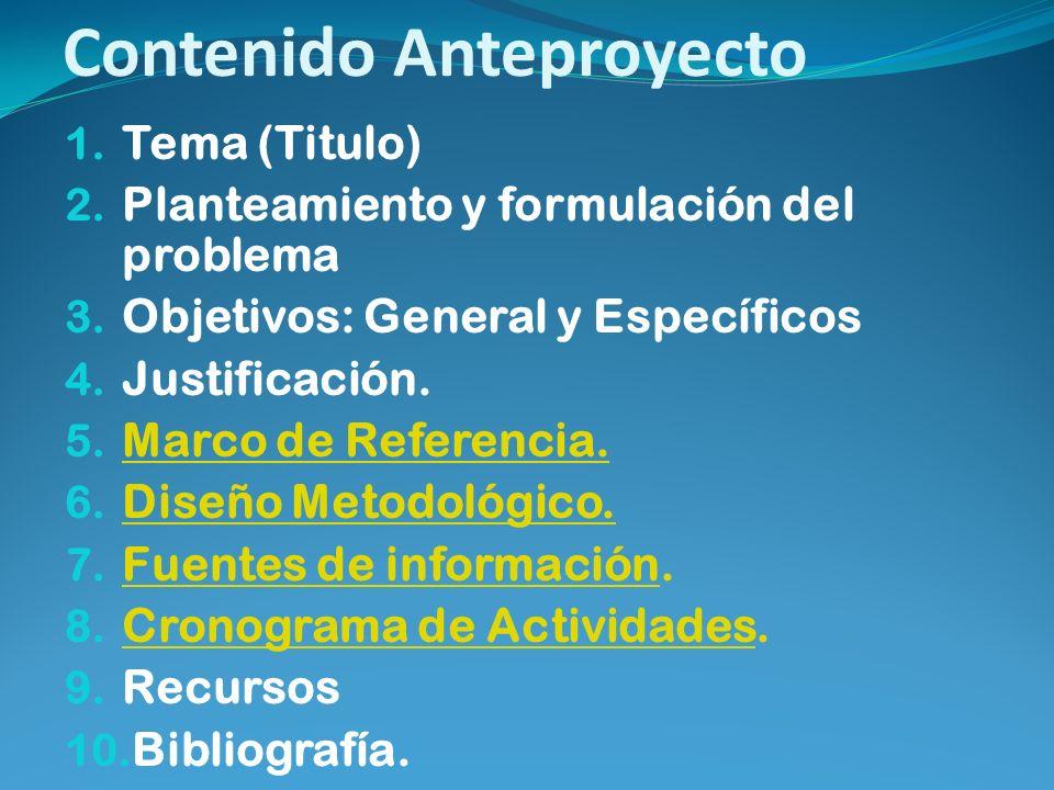 Contenido Anteproyecto 1. Tema (Titulo) 2. Planteamiento y formulación del problema 3. Objetivos: General y Específicos 4. Justificación. 5. Marco de