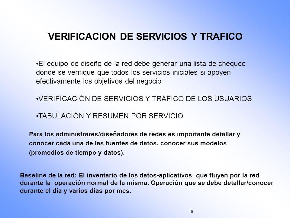 10 VERIFICACION DE SERVICIOS Y TRAFICO El equipo de diseño de la red debe generar una lista de chequeo donde se verifique que todos los servicios inic