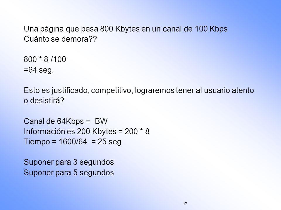17 Una página que pesa 800 Kbytes en un canal de 100 Kbps Cuánto se demora?? 800 * 8 /100 =64 seg. Esto es justificado, competitivo, lograremos tener