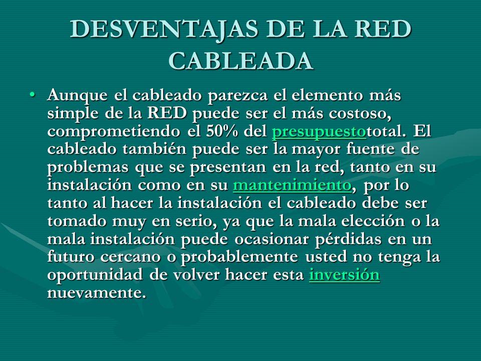 DESVENTAJAS DE LA RED CABLEADA Aunque el cableado parezca el elemento más simple de la RED puede ser el más costoso, comprometiendo el 50% del presupuestototal.