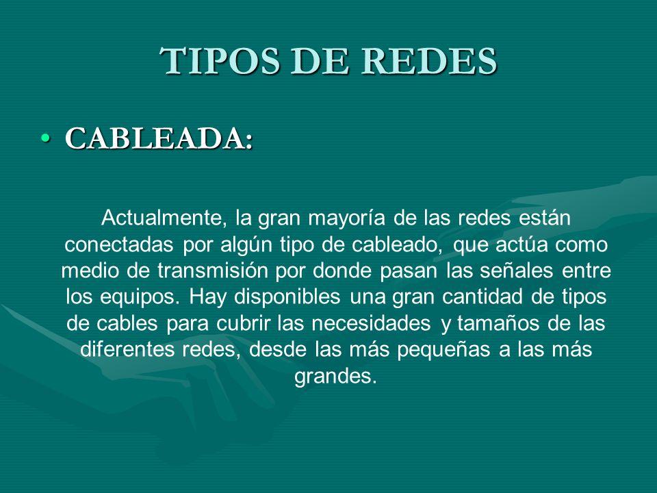 TIPOS DE REDES CABLEADA:CABLEADA: Actualmente, la gran mayoría de las redes están conectadas por algún tipo de cableado, que actúa como medio de transmisión por donde pasan las señales entre los equipos.